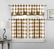 Sheer Small Taupe and White Three Piece Kitchen/Cafe Tier Window Curtain Set Gingham Check Pattern, 1 Valance, 2 Tiers 24inch L