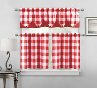 Sheer Small Red and White Three Piece Kitchen/Cafe Tier Window Curtain Set Gingham Check Pattern, 1 Valance, 2 Tiers 24inch L (Red and White)
