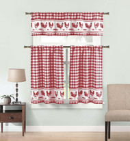 Burgundy 3 Piece Window Curtain Set: Gingham Check and Rooster Design