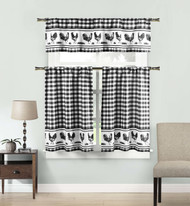 Black 3 Piece Window Curtain Set: Gingham Check and Rooster Design