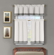 Natural Cotton Blend 3 Piece Window Curtain/Cafe Tiers Set: Silver  Crochet Accent, 1 Valance, 2 Tier Panels