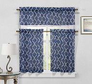 Sheer 3 Piece Kitchen Window Curtain/Cafe Tiers Set: Trellis Design, 1 Valance, 2 Tier Panels (Navy Blue)
