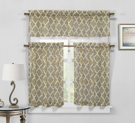 Sheer 3 Piece Kitchen Window Curtain/Cafe Tiers Set: Trellis Design, 1 Valance, 2 Tier Panels (Taupe)