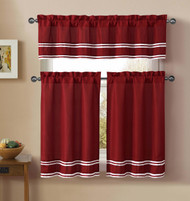 3 Piece Kitchen Cafe/Tiers Window Treatment Set: Pintuck Accent Stripes, 2 Tier Panels, 1 Valance (Red)