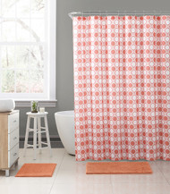 "Embossed Fabric Shower Curtain with Printed trendy Honey Comb Octagonal Geometrical Design, 72"" x 72"" (Coral and White)"