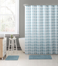 "Embossed Fabric Shower Curtain with Printed trendy Honey Comb Octagonal Geometrical Design, 72"" x 72"" (Silver Blue and White)"