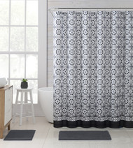 "Gray, Taupe, Black and White Fabric Shower Curtain with Printed Floral Medallion Geometrical Design, 72"" x 72"""