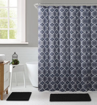 "Gray, Black and White Embossed Fabric Shower Curtain with Printed trendy Floral Medallion Geometrical Design, 72"" x 72"""