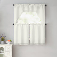 Beige 4 Piece Kitchen Window Curtain Set: White Macrame Border, 2 Swag and 2 Tier Panels