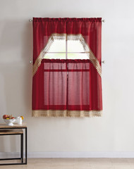 4 Piece Kitchen Window Curtain Set: Gold Macrame Border, 2 Swag and 2 Tier Panels (Red)