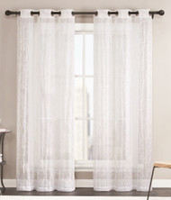 Sheer Grommet Window Curtain Panel Pair with White Scroll Design, 76inX84in (White)