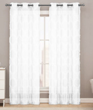Sheer Grommet Window Curtain Panel Pair with White Lattice Design 76inX84in (White)
