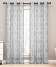Sheer Grommet Window Curtain Panel Pair with White Lattice Design 76inX84in (Silver Gray)