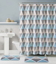 3 Pc. Bath Set: Shower Curtain and 2 Mats, Triangle Geometric Design, Blue, Taupe and Gray, 100% Cotton