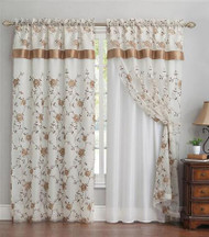 "Double Layer Embroidered Window Curtain: Floral Design, Attached Valance, 55""x90"", One Panel (Beige)"