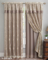 "Double Layer Embroidered Window Curtain: Floral Design, Attached Valance, 55""x90"", One Panel (Taupe)"