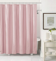 Pink PEVA 6 Gauge Shower Curtain Liner: Mildew Resistant, Chlorine Free, Odorless, Water-Repellent, Grommets and Magnets