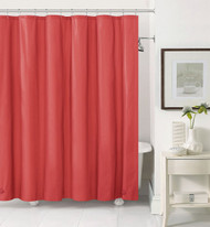 Red PEVA 6 Gauge Shower Curtain Liner: Mildew Resistant, Chlorine Free, Odorless, Water-Repellent, Grommets and Magnets