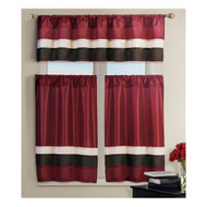 Burgundy 3 PC Small Window Curtain Set 1 Valance 2 Tiers with Pleated Brown and Taupe Stripes