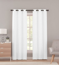 White Sheer Grommet Window Curtain Panel Pair with Pleated Stripe Design, 76in X 96in