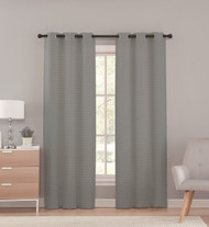 Sheer Grommet Window Curtain Panel Pair with Pleated Stripe Design, 76in X 96in (Gray)