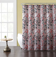"Paisley Print Fabric Shower curtain: Coral, Taupe, Gray, White 72"" x 72"""