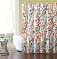 "Bold Paisley printed Fabric Shower Curtain in Coral, Spice, Teal and White : 72"" x 72"""