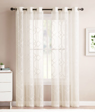 Beige Sheer Grommet Window Curtain Panel Pair with Embroidered Geometric Design 38W x 96L Each