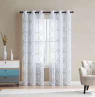 White and Gray Sheer Grommet Window Curtain Panel Pair with Embroidered Geometric Design 38W x 96L Each