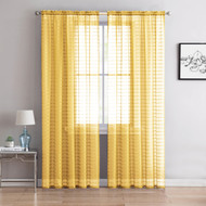 "Single (1) Sheer Rod Pocket Window Curtain Panel: 55""W X 90""L, Plaid/Check Design (Yellow)"