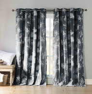 "Two Cotton Rich Grommet Window Curtain Panels Charcoal and White Floral design 84"" Long"
