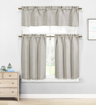 Kensie Home Jane Textured Kitchen Curtains: Subtle Pinstripe with Sequin Accents (Stone Grey)