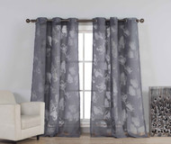 "Set of Two (2) Cotton Blend Sheer Window Curtain Panels: Burnout Floral Design, Silver Grommets, Extra Wide 110"" x 84"" (Charcoal)"