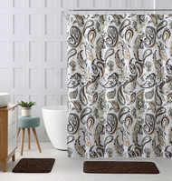 "Decorative Brown Gold Green Fabric Shower Curtain: Watercolor Floral Paisley Design, 72"" x 72"" inch"
