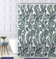 "Decorative Blue Green Fabric Shower Curtain: Watercolor Floral Paisley Design, 72"" x 72"" inch"