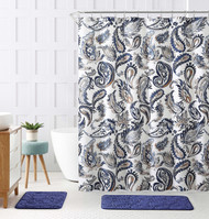 "Decorative Navy Blue Gold Fabric Shower Curtain: Watercolor Floral Paisley Design, 72"" x 72"" inch"