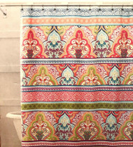 """Blue Pink Green Boho Fabric Shower Curtain: Floral Damask with Geometric Border Design, Multi Colored, 70"""" x 72"""" inch"""