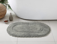 """Grey Bath Rug: Soft and Absorbent Oval 100% Cotton with Decorative Crochet Border, 20"""" x 32"""" Inches"""