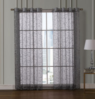 "Sheer Black Grommet Window Curtain Panel Pair with White Scroll Design, 55"" x 84"" each"