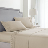 Queen Size Sheets Set in Taupe / Off White 4 Pc Set w/ 2 Sheets, 2 Pillowcases