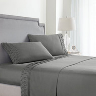 Queen Size Sheets Set in Grey 4 Pc Set w/ 2 Sheets, 2 Pillowcases