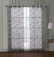 "Sheer White Grommet Window Curtain Panel Pair with Black Scroll Design, 55"" x 84"" each"