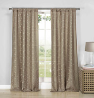"Set of Two (2) Linen Semi Sheer Rod Pocket Window Curtain Panels: Gold Metallic Leaf and Branch Design, 84"" Long"