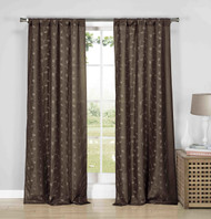 """Set of Two (2) Chocolate Semi Sheer Rod Pocket Window Curtain Panels: Gold Metallic Leaf and Branch Design, 84"""" Long"""