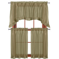 "3 PC Window Curtain Set: Pleated Ruffle, 1 Swag Valance, 2-36""L Tiers Panels (Taupe)"