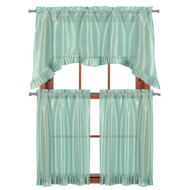 "3 PC Window Curtain Set: Pleated Ruffle, 1 Swag Valance, 2-36""L Tiers Panels (Aqua Blue)"