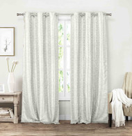 "Vera Neumann Set of Two (2) Grommet Window Curtain Panels: Linen look, 84"" Length (Silver-White)"