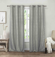 "Vera Neumann Set of Two (2) Grommet Window Curtain Panels: Linen look, 84"" Length (Silver-Gray)"
