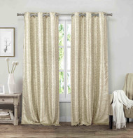 "Vera Neumann Set of Two (2) Grommet Window Curtain Panels: Linen look, 84"" Length (Beige-Mocha)"