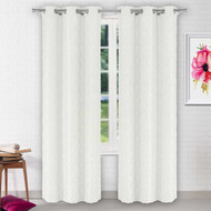 Vera Collection Two Grommet Window Curtain: Diamond design, 84 IN Length (Off White)